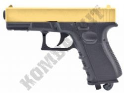 FS1504 BB Gun Glock G23 Replica CO2 Airsoft Pistol Black & Gold 2 Tone Metal Slide